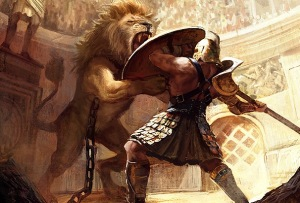 man vs lion